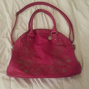 Pink embroidered purse